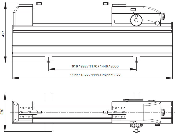 Dimensions of Trimos HPD / HPA length measuring machine